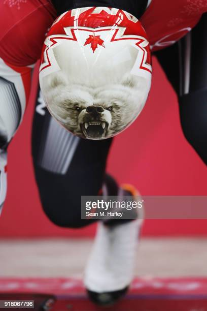 Barrett Martineau of Canada makes a run during a Men's Skeleton training session on day five of the PyeongChang 2018 Winter Olympics at the Olympic...
