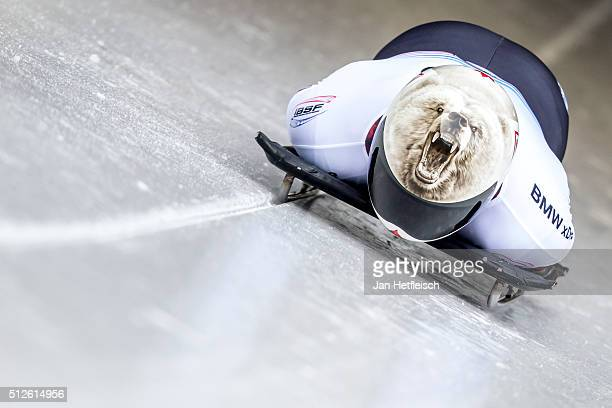 Barrett Martineau of Canada pushes off the start during the first run of the IBSF Bobsleigh Skeleton World Cup on February 27 2016 in Koenigsee...