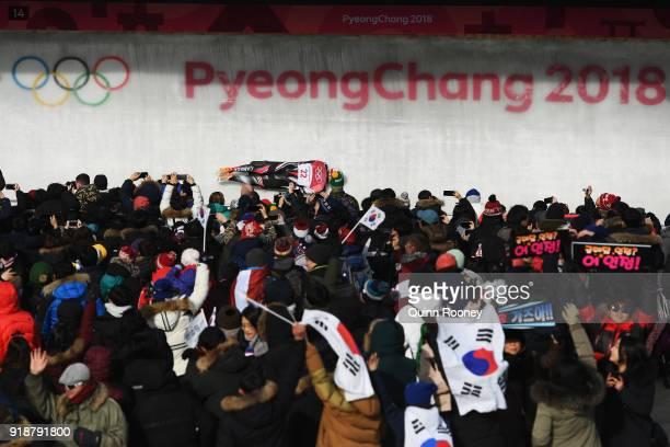 Barrett Martineau of Canada slides during the Men's Skeleton heats at Olympic Sliding Centre on February 16 2018 in Pyeongchanggun South Korea