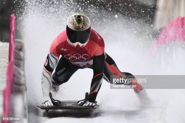 Barrett Martineau of Canada slides into the finish area during the Men's Skeleton heats at Olympic Sliding Centre on February 16 2018 in...