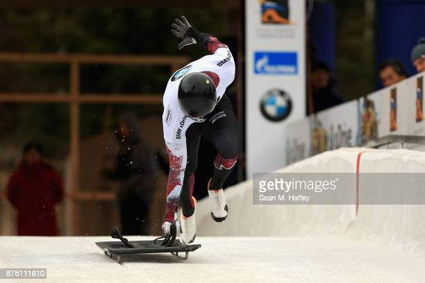 Barrett Martineau of Canada takes a training run in the Men's Skeleton during the BMW IBSF Bobsleigh + Skeleton World Cup at Utah Olympic Park...