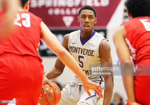 J Barrett of Montverde Academy dribbles during a game against Mater Dei High School during the 2018 Spalding Hoophall Classic at Blake Arena at...