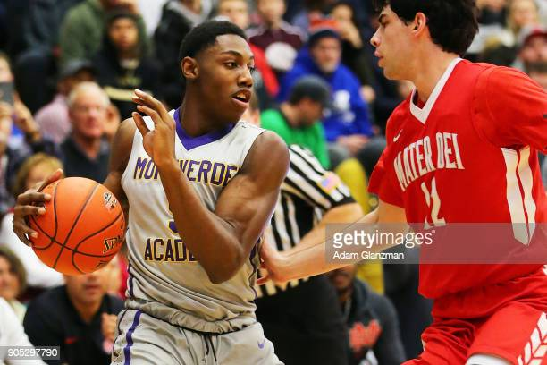 J Barrett of Montverde Academy dribbles in a game against Mater Dei High School during the 2018 Spalding Hoophall Classic at Blake Arena at...