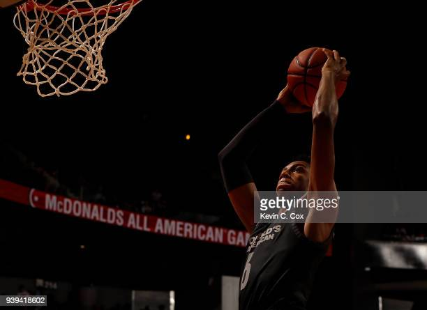 Barrett of Montverde Academy dunks during the 2018 McDonald's All American Game at Philips Arena on March 28 2018 in Atlanta Georgia