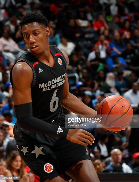 Barrett of Montverde Academy in action during the 2018 McDonald's All American Game at Philips Arena on March 28 2018 in Atlanta Georgia
