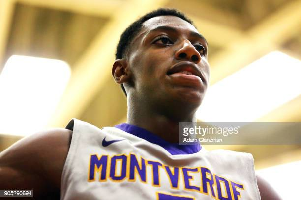 J Barrett of Montverde Academy looks on during a game against Mater Dei High School during the 2018 Spalding Hoophall Classic at Blake Arena at...