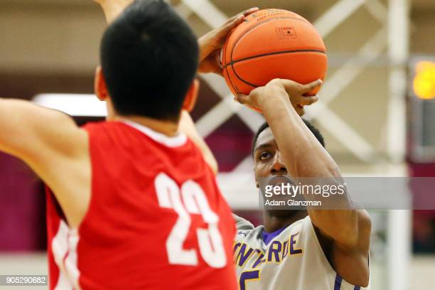 J Barrett of Montverde Academy shoots during a game against Mater Dei High School during the 2018 Spalding Hoophall Classic at Blake Arena at...
