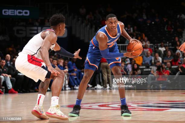 Barrett of New York Knicks handles the ball against the Washington Wizards during preseason on October 7 2019 at Capital One Arena in Washington DC...