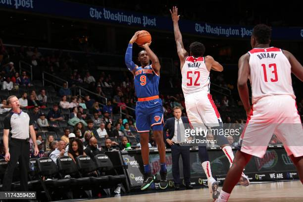 Barrett of New York Knicks shoots three point basket against the Washington Wizards during preseason on October 7 2019 at Capital One Arena in...
