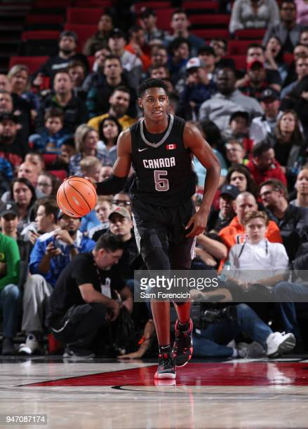 J Barrett of Team World dribbles the ball against Team USA during the Nike Hoop Summit on April 13 2018 at the MODA Center Arena in Portland Oregon...