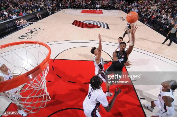J Barrett of Team World drives to the basket against Team USA during the Nike Hoop Summit on April 13 2018 at the MODA Center Arena in Portland...