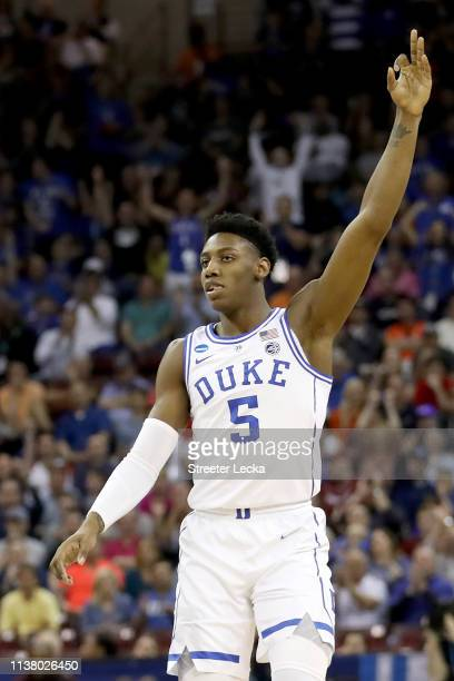 Barrett of the Duke Blue Devils celebrates a three point basket against the UCF Knights during the first half in the second round game of the 2019...