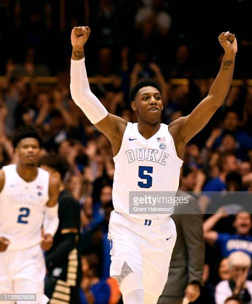 Barrett of the Duke Blue Devils celebrates as time expires during thewin against the Wake Forest Demon Deacons at Cameron Indoor Stadium on March 05...