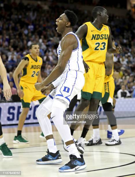 Barrett of the Duke Blue Devils celebrates his dunk against the North Dakota State Bison in the first half during the first round of the 2019 NCAA...