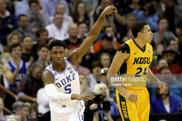 Barrett of the Duke Blue Devils celebrates his dunk against the North Dakota State Bison in the second half during the first round of the 2019 NCAA...