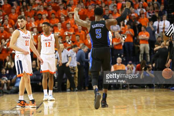 Barrett of the Duke Blue Devils celebrates in the final seconds of the second half during a game against the Virginia Cavaliers at John Paul Jones...