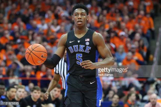 Barrett of the Duke Blue Devils dribbles up the court against the Syracuse Orange during the first half at the Carrier Dome on February 23 2019 in...