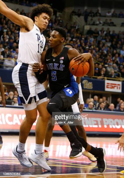 Barrett of the Duke Blue Devils drives to the basket against Kene Chukwuka of the Pittsburgh Panthers at Petersen Events Center on January 22 2019 in...