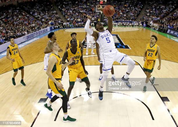 Barrett of the Duke Blue Devils dunks the ball against the North Dakota State Bison in the second half during the first round of the 2019 NCAA Men's...