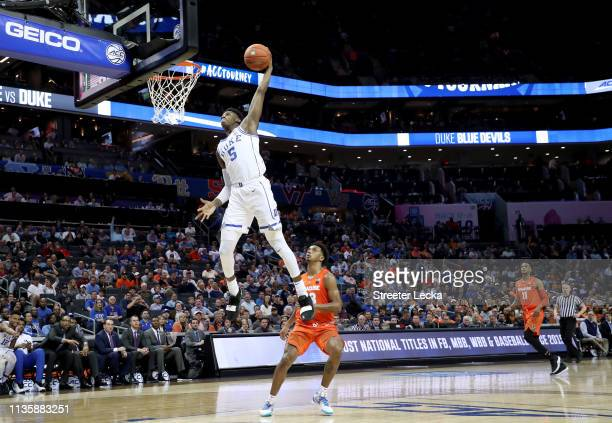 Barrett of the Duke Blue Devils dunks the ball against the Syracuse Orange during their game in the quarterfinal round of the 2019 Men's ACC...