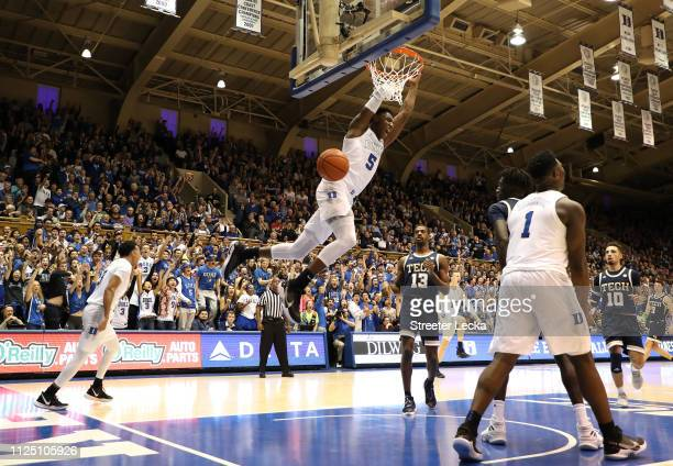 Barrett of the Duke Blue Devils dunks the ball during their game against the Georgia Tech Yellow Jackets at Cameron Indoor Stadium on January 26 2019...