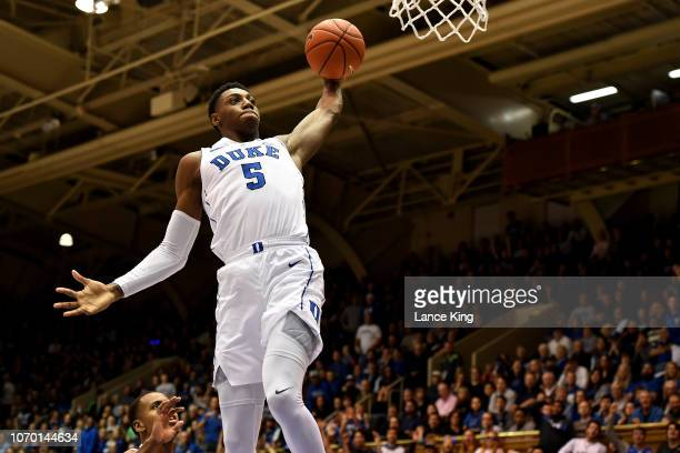 Barrett of the Duke Blue Devils goes up for a dunk against the Yale Bulldogs in the second half at Cameron Indoor Stadium on December 8 2018 in...