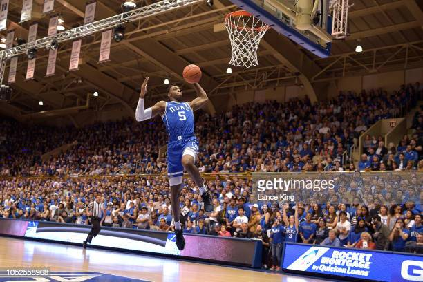 Barrett of the Duke Blue Devils goes up for a dunk during Countdown to Craziness at Cameron Indoor Stadium on October 19 2018 in Durham North Carolina