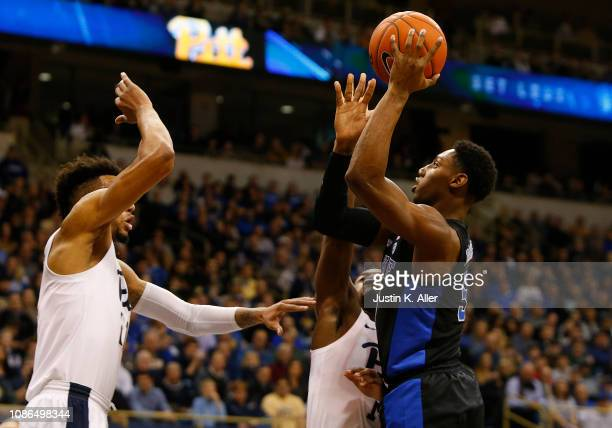 Barrett of the Duke Blue Devils pulls up for a shot against the Pittsburgh Panthers at Petersen Events Center on January 22 2019 in Pittsburgh...