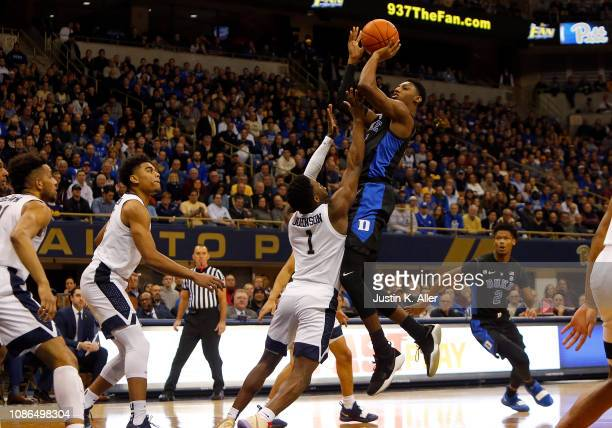 Barrett of the Duke Blue Devils pulls up for a shot against Xavier Johnson of the Pittsburgh Panthers at Petersen Events Center on January 22 2019 in...