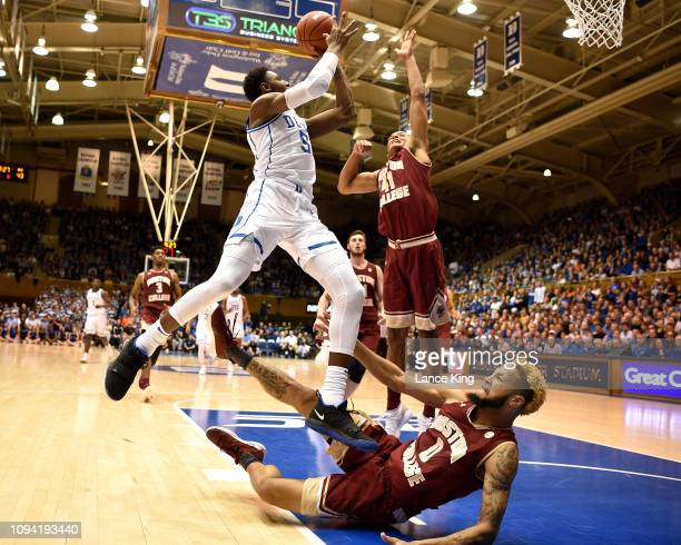 Barrett of the Duke Blue Devils puts up a shot after being fouled by Ky Bowman of the Boston College Eagles in the second half at Cameron Indoor...
