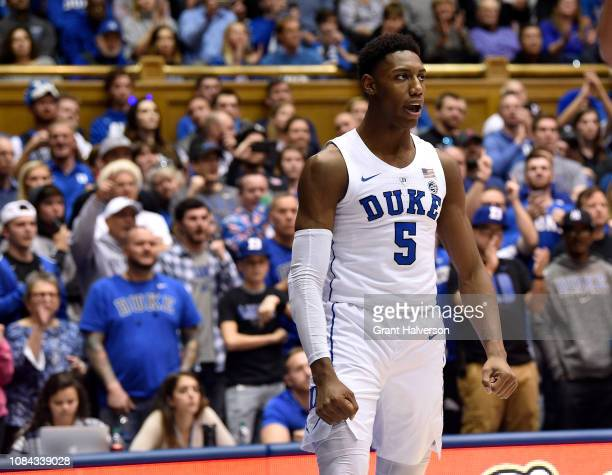 Barrett of the Duke Blue Devils reacts after a dunk against the Princeton Tigers during the second half of their game at Cameron Indoor Stadium on...