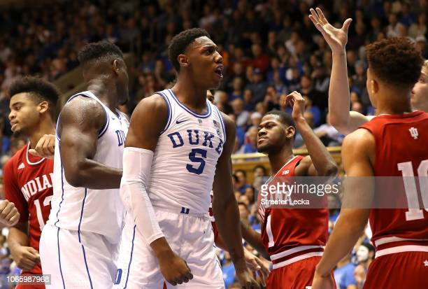 Barrett of the Duke Blue Devils reacts after a play against the Indiana Hoosiers during their game at Cameron Indoor Stadium on November 27 2018 in...