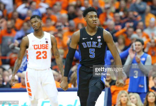 Barrett of the Duke Blue Devils reacts to a play against the Syracuse Orange during the second half at the Carrier Dome on February 23 2019 in...