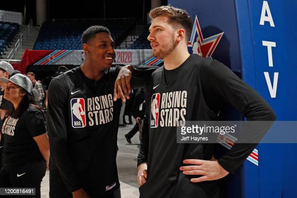 Barrett of the New York Knicks and Luka Doncic of the Dallas Mavericks talk during Rising Stars Media Availability and Practice as part of 2020 NBA...