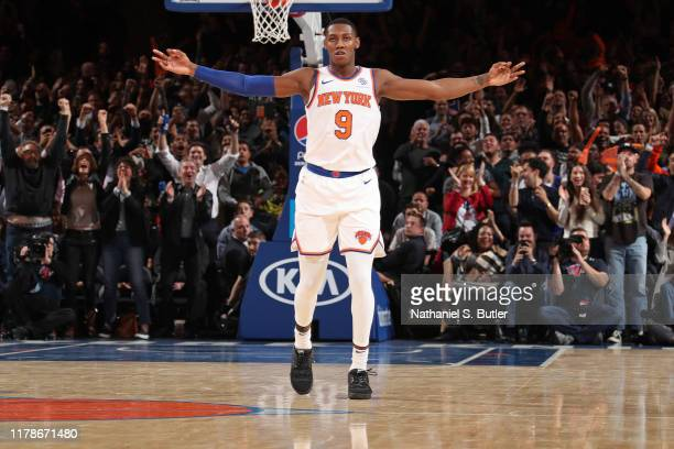 Barrett of the New York Knicks celebrates a three point basket against the Chicago Bulls on October 28, 2019 at Madison Square Garden in New York...