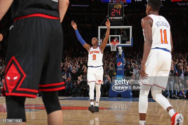 Barrett of the New York Knicks celebrates a three point basket against the Chicago Bulls on October 28 2019 at Madison Square Garden in New York City...