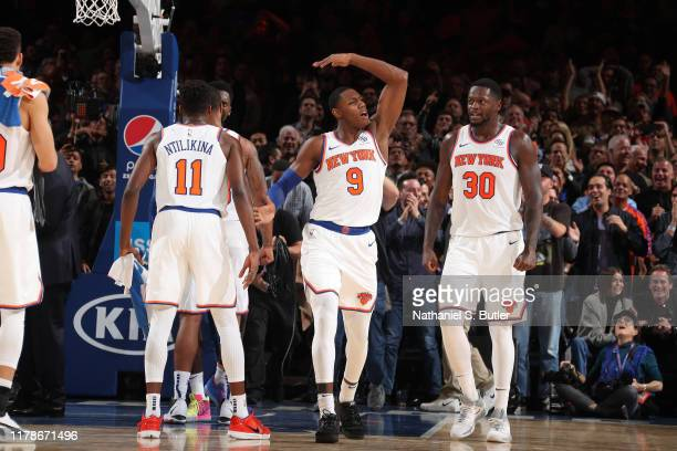 Barrett of the New York Knicks celebrates against the Chicago Bulls on October 28 2019 at Madison Square Garden in New York City New York NOTE TO...