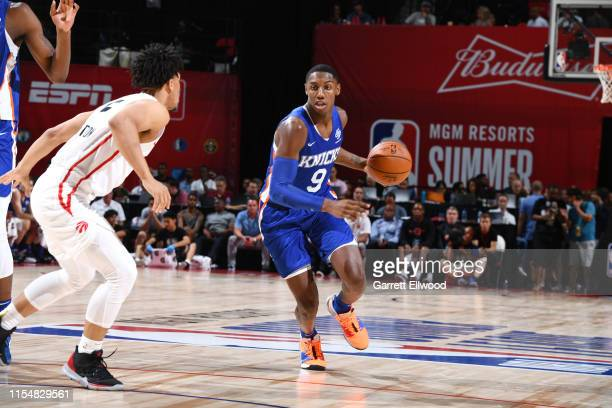 Barrett of the New York Knicks dribbles the ball during the game against the Toronto Raptors during Day 5 of the 2019 Las Vegas Summer League on July...