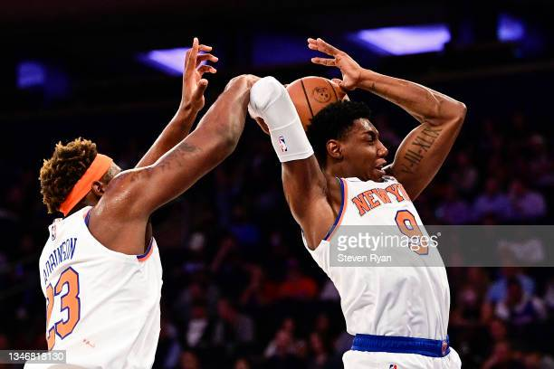 Barrett of the New York Knicks grabs the rebound against the Washington Wizards during a preseason game at Madison Square Garden on October 15, 2021...