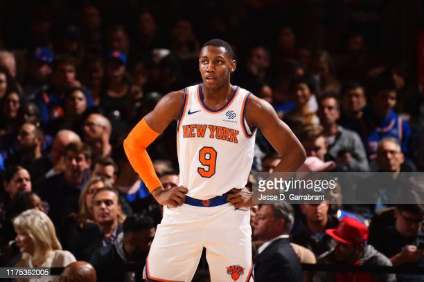Barrett of the New York Knicks looks on during a game against the Washington Wizards during a preseason game on October 11 2019 at Madison Square...