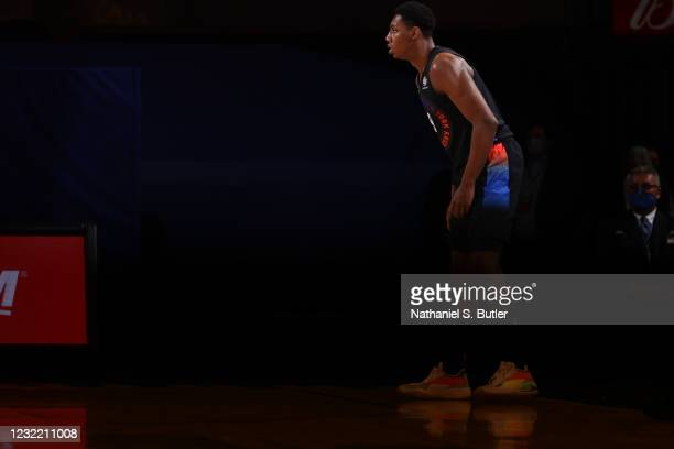 Barrett of the New York Knicks looks on during the game against the Memphis Grizzlies on April 9, 2021 at Madison Square Garden in New York City, New...