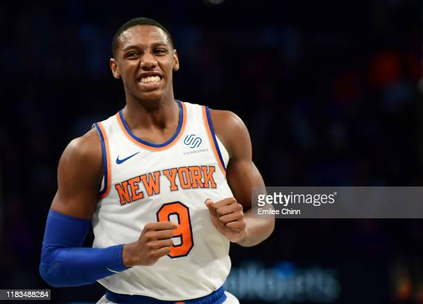Barrett of the New York Knicks reacts after scoring during the second half of their game against the Brooklyn Nets at Barclays Center on October 25...