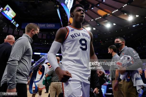 Barrett of the New York Knicks reacts as he leaves the court after the second overtime against the Boston Celtics at Madison Square Garden on October...