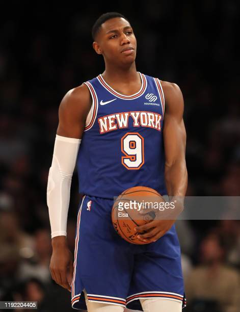 Barrett of the New York Knicks reacts in the second half against the Denver Nuggets at Madison Square Garden on December 05, 2019 in New York City....