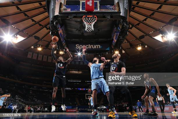 Barrett of the New York Knicks rebounds the ball during the game against the Memphis Grizzlies on April 9, 2021 at Madison Square Garden in New York...