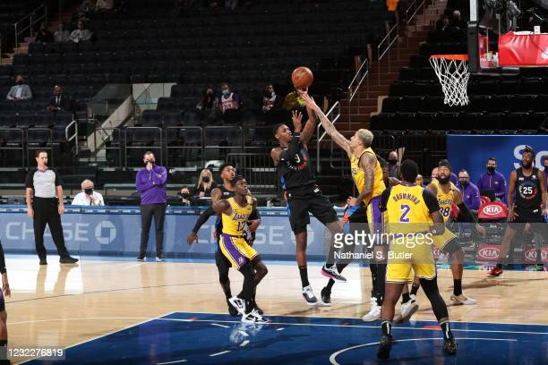 Barrett of the New York Knicks shoots the ball during the game against the Los Angeles Lakers on April 12, 2021 at Madison Square Garden in New York...