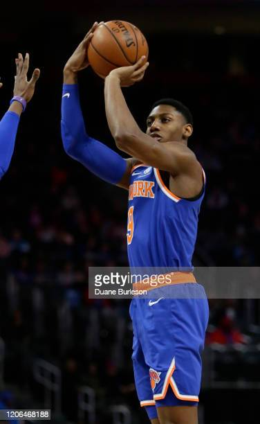 Barrett of the New York Knicks takes a shot against the Detroit Pistons during the first half at Little Caesars Arena on February 8 in Detroit...