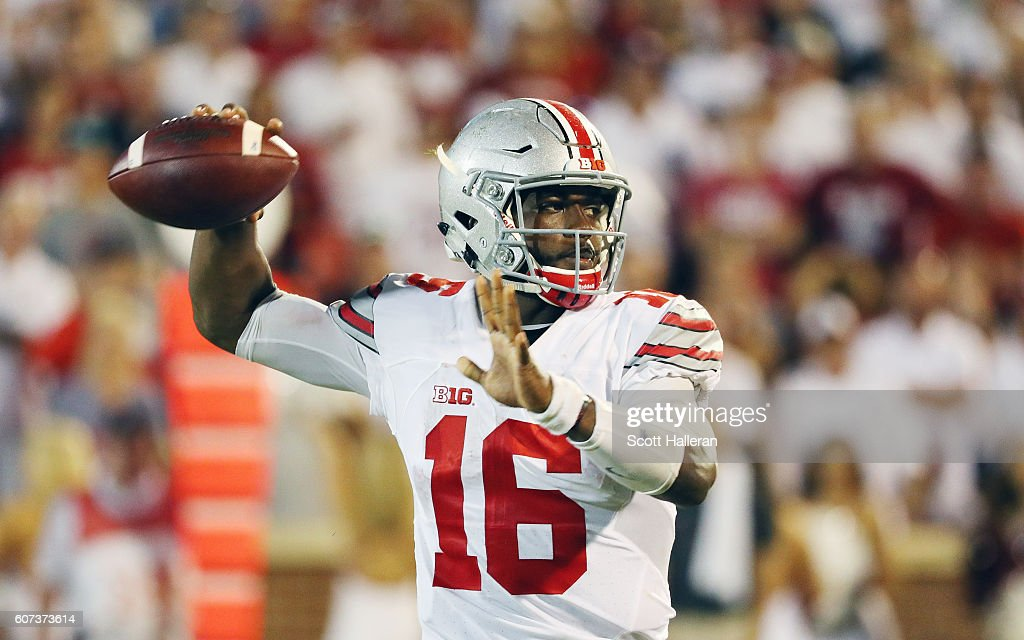 J.T. Barrett #16 of the Ohio State Buckeyes looks to passs the football in the second half of their game against the Oklahoma Sooners at Gaylord Family Oklahoma Memorial Stadium on September 17, 2016 in Norman, Oklahoma.