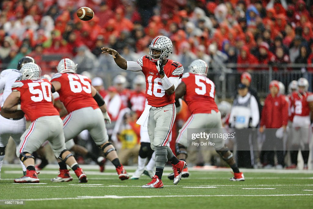 J.T. Barrett #16 of the Ohio State Buckeyes throes a pass in the second quarter against Michigan State Spartans at Ohio Stadium on November 21, 2015 in Columbus, Ohio.