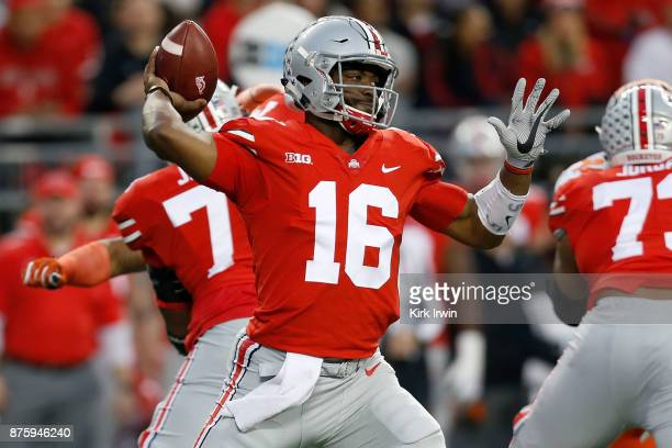 T Barrett of the Ohio State Buckeyes throws a pass during the first quarter of the game against the Illinois Fighting Illini on November 18 2017 at...